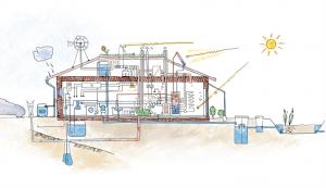 """<span class=""""KÖR Építész Stúdió"""" title=""""Ökologikus, fenntartható építészeti tervezés, autonóm, önellátó, reziliens (katasztrófabiztos) házak, természetes anyagok preferálása (szalmabála, vályog). Lakóházak, középületek tervezése, települési fenntartható stratégiák készítése"""">KÖR Építész Stúdió</span>"""